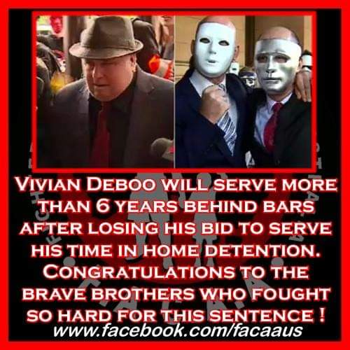 "Vivian Deboo will serve more than 6 years behind bars after losing his bid to serve his time in home detention. Congratulations to the brave brothers who fought so hard for this sentence !  Vivian Fredrick Deboo, 74, was arrested in December 2016, but waited until the day before his District Court trial to finally plead guilty to multiple counts of indecent assault and gross indecency.   Under new laws introduced in NSW, this would not result in a reduction in his sentencing, if it occurred in NSW. These laws must be made nationwide, too many offenders use this ploy to put their survivors through as much stress as possible and yet still receive a deduction in their sentence for pleading guilty. We should not be rewarding them for this behaviour.  The court heard Deboo was a respected member of a South Australian church, (WAS being the operative word there), when he groomed two young brothers and forced himself onto them at locations in the Adelaide Hills and on the Fleurieu Peninsula in the 1990s.  His survivors and a large group of their supporters packed the courtroom for his sentencing, with permission granted for them to fill the seats usually reserved for jurors. They clapped and cheered as Judge Simon Stretton refused to grant Deboo home detention and instead imposed a non-parole period of five years and three months.   ""The only sentence that can justifiably condemn these acts is a life sentence, however, in the judicial climate we are in we are very satisfied with Judge Stretton's remarks and his sentence,"" he said.  ""We feel it does bring some justice and some closure to the horrendous atrocities that this man has inflicted against his victims"".  ""My brother and I have suffered immeasurably through this court system because this monster has refused to admit his guilt and he has dragged us to hell and back.  ""Today we stand united that justice has finally fallen upon Deboo's head.""- We at FACAA wish to wholeheartedly applaud these two brothers and their supporters. It was so awesome to read about supporters showing up for the right side of the fight to end child abuse.   Well done one and all, but especially to the two brothers who have fought so hard for this decision. We at FACAA salute you and as always if you would like to access our fully sponsored martial arts training or gym facilities, we have some incredible gyms in the South Australia region who would love to help you heal.   Deboo's bid to serve his sentence from the comfort of his Pasadena home spurred the victims to confront him outside court before his bail was revoked last week. Their supporters chanted ""shame on you, Viv Deboo"" while armed with signs protesting against home detention.  ""There is no justice in child abuse, child abuse is a life sentence, it's about standing up and showing the community that you can stand up and defend yourself,"" one survivor said.  ""I think we have achieved a small victory today for every child that has ever been abused by a paedophile in Australia or indeed around the world. – Yes you certainly have.   The case prompted the State Opposition to introduce a bill to Parliament to ban paedophiles from serving their sentences on home detention, but debate on the bill has been adjourned.   We at FACAA would love our members from SA to contact their local minister and demand this bill be picked back up and brought into law ! If you need advice on what to say, please drop us a comment or inbox and our Julia's justice legal reform campaign will contact you with advice.   ""Tonight one monster goes to jail, however there are more monsters out in our community, and unless we stand up and produce legislative change to increase maximum custodial sentences for crimes against kids, they will continue,"" the survivor said.  The court heard Deboo was a serious repeat offender, having been sentenced in 1996 for similar offending against three other young boys. Judge Stretton said in the cases currently before the court, there were ""distinct elements of grooming and planning"".  ""In each case, you took advantage of a relationship of trust you had constructed with the family through the church… to abuse for your own prurient purposes two innocent adolescent boys,"" Judge Stretton said.  ""Your actions have had a devastating effect on both victims and their families."" Well said Judge Stretton.   Deboo, who is married with five children, showed no emotion as the sentence was handed down. His wife had shown up with him at court in the past supporting him. I hope she leaves him and sends a clear message that child rapists are not people of good character and are not people worth being married to !   Vivian Deboo you are a monster and you are now going to prison where you belong, this was made possible by the brave survivors who you foolishly underestimated when you decided to take their innocence away !  Fool on you Viv Deboo !   #FACAA #ProudFACAA #EndingChildAbuse #RaisingAwareness #ChangingLives #HealingSurvivors #WeWIllFight #NeverGonnaStop #SaveTheKids #FromHellWeRise #VivianDeboo #Paedophile #GuardiansOfTheInnocent #VoiceForTheVoiceless #HopeForTheHopeless #ChildrensChampions #EndingChildAbuse #RaisingAwareness #ChangingLives #HealingSurvivors #ChangingLaws #JuliasJustice #PhoenixProgram #TakeAStance   https://www.abc.net.au/news/2018-12-04/paedophile-vivian-deboo-sentencing-court/10580272"